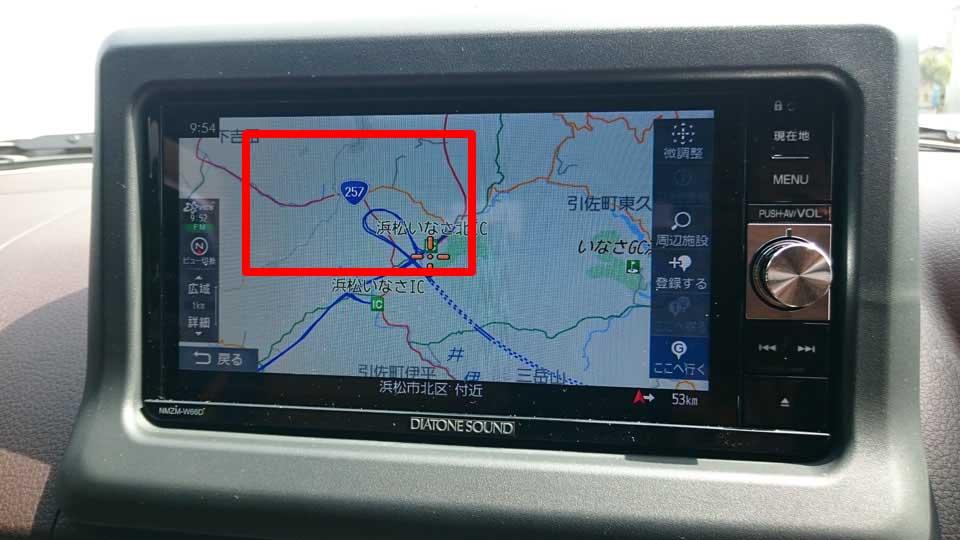 ダイヤトーンサウンドナビ地図更新前(浜松いなさJCT付近)