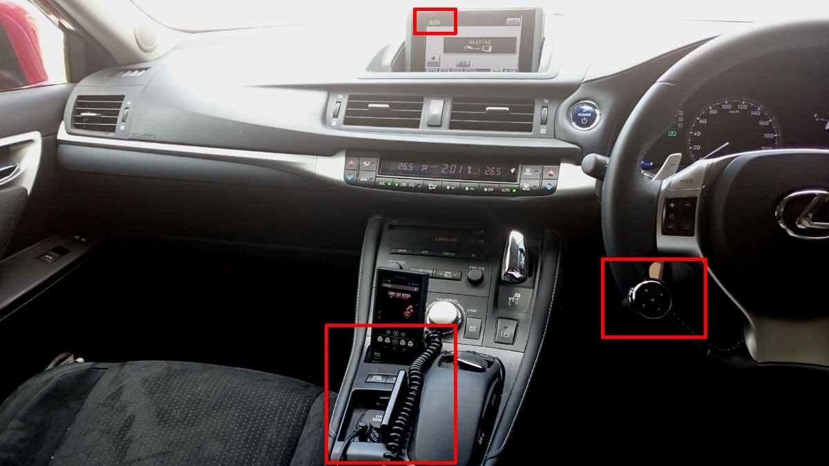 車とスマホ・ウォークマンなど音楽プレイヤーのAUXとBluetoothのAVRCP併用接続例
