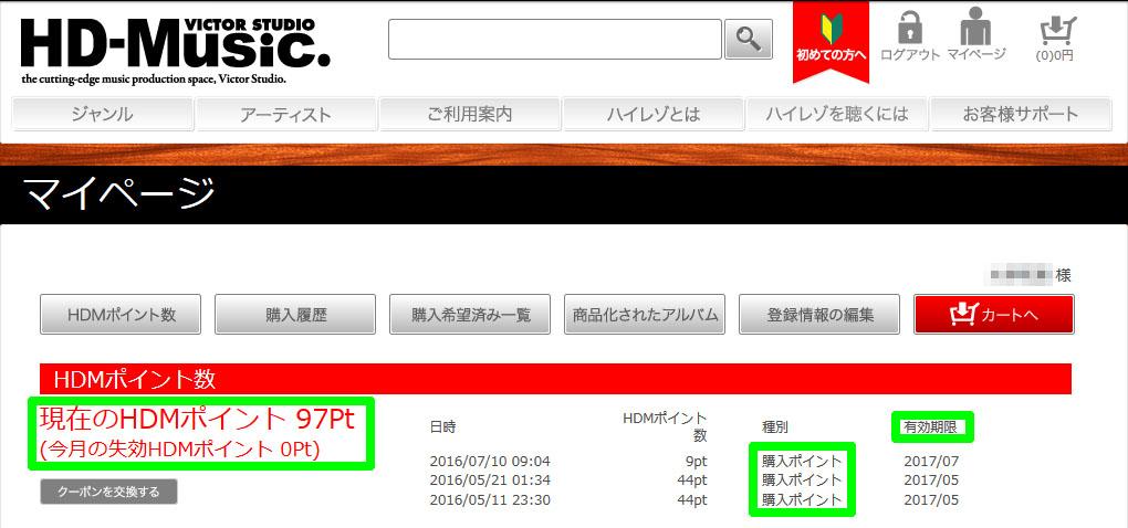 HD-MusicハイレゾダウンロードでたまるHDMポイント