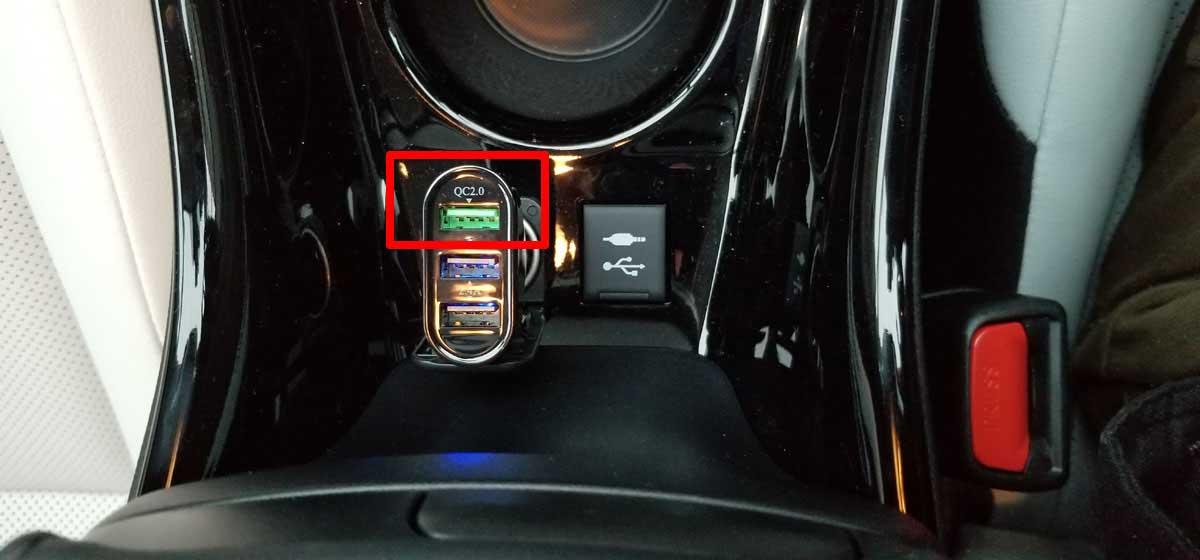 プリウス純正12VシガーソケットにQC2.0対応USB充電器装着